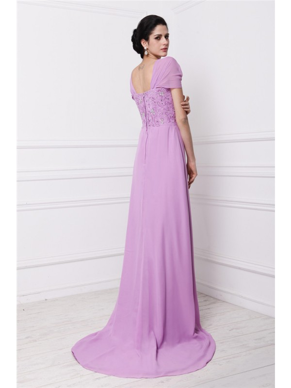 Sheath/Column Square Short Sleeves Beading Embroidery Long Chiffon Mother of the Bride Dresses