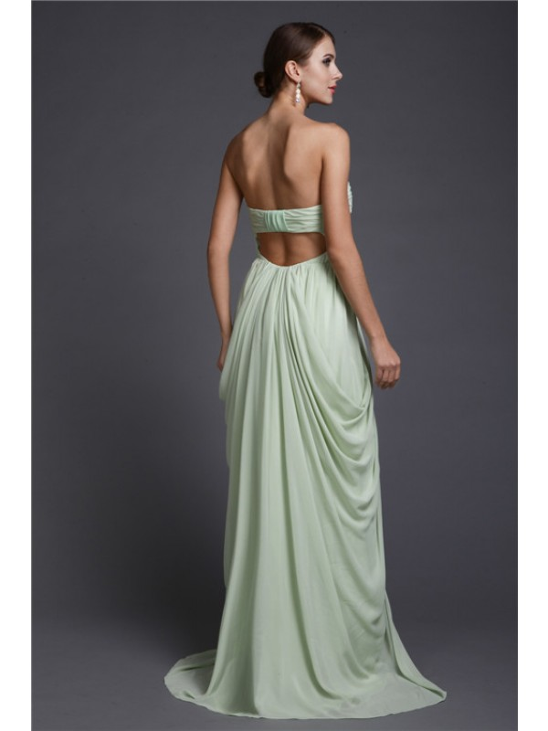 Sheath/Column Sweetheart Sleeveless Long Ruffles Chiffon Dresses