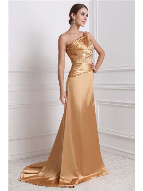 A-Line/Princess One-Shoulder Sleeveless Long Beading Elastic Woven Satin Dresses