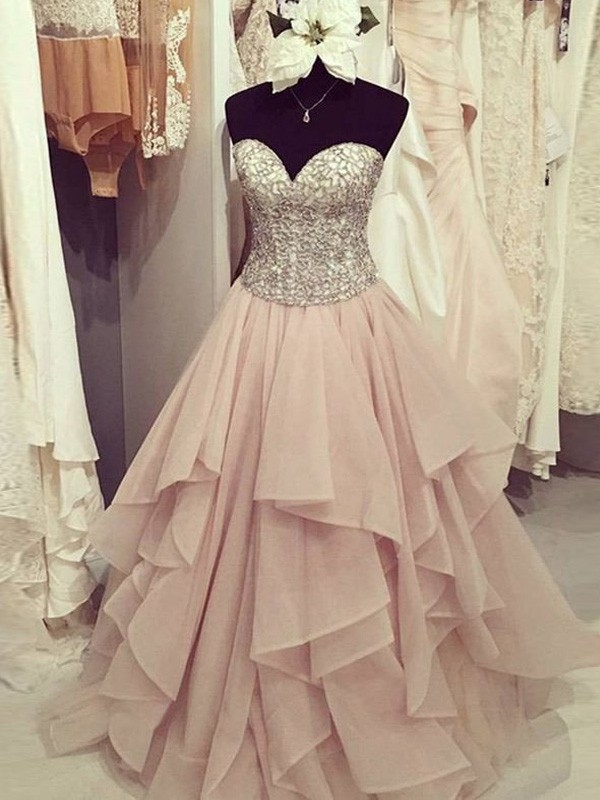 Ball Gown Sweetheart Sleeveless Floor-Length Beading Chiffon Dresses