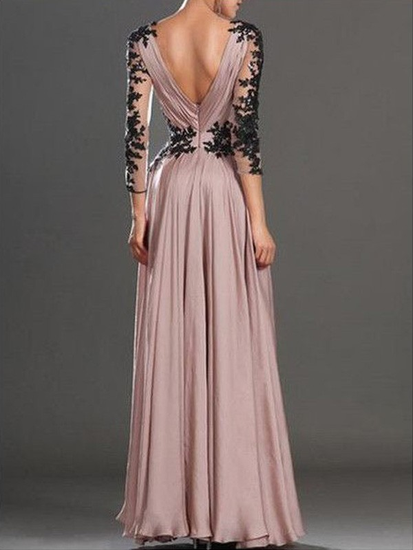 A-Line/Princess Long Sleeves V-neck Chiffon Applique Floor-Length Dresses