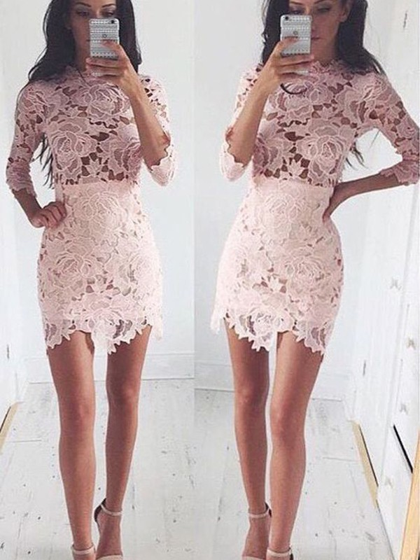 A-Line/Princess 1/2 Sleeves Scoop Lace Short/Mini Dresses