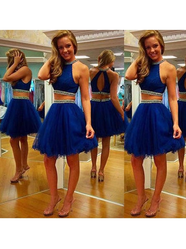 A-Line/Princess Sleeveless Halter Beading Tulle Short/Mini Two Piece Dresses
