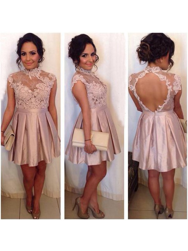 A-Line/Princess Sleeveless High Neck Lace Satin Short/Mini Dresses