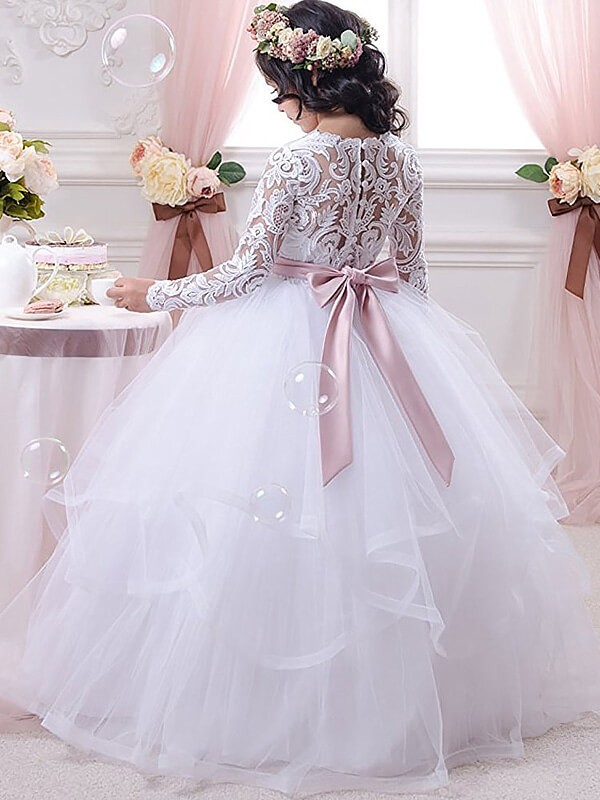 Ball Gown Jewel Long Sleeves Lace Floor-Length Tulle Flower Girl Dresses