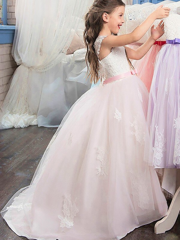 Ball Gown Sweetheart Sleeveless Bowknot Floor-Length Tulle Flower Girl Dresses