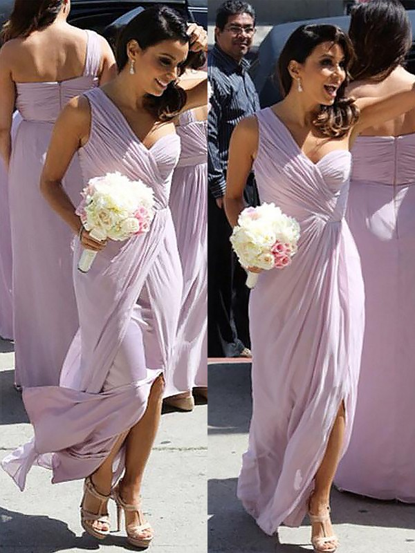 A-Line One-Shoulder Chiffon Ruched Sleeveless Floor-Length Bridesmaid Dresses