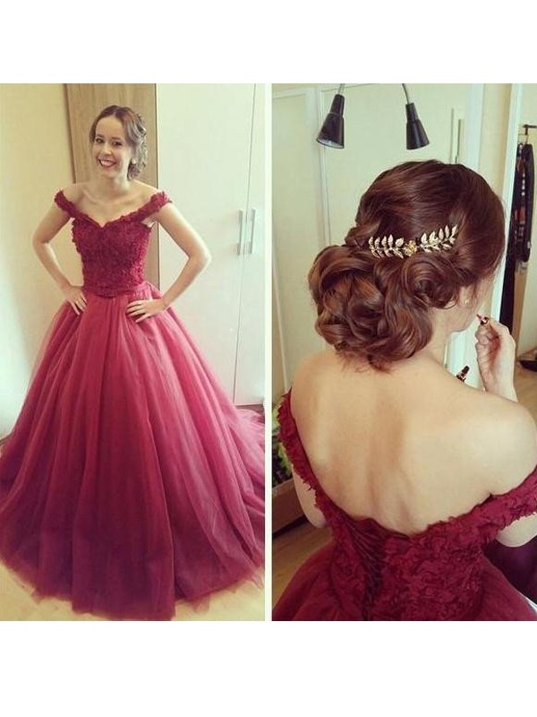 Ball Gown Off-the-Shoulder Applique Sleeveless Floor-Length Tulle Dresses