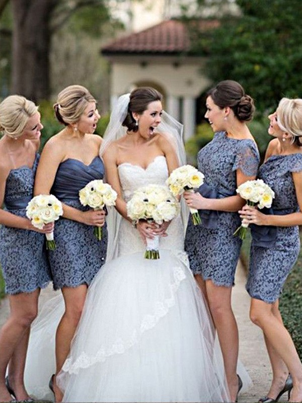 Sheath/Column Sleeveless Lace Short/Mini Bridesmaid Dresses