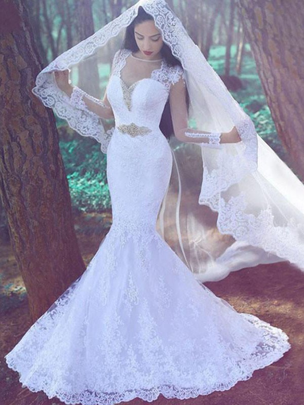 Mermaid Applique Sweetheart Long Sleeves Lace Court Train Wedding Dresses