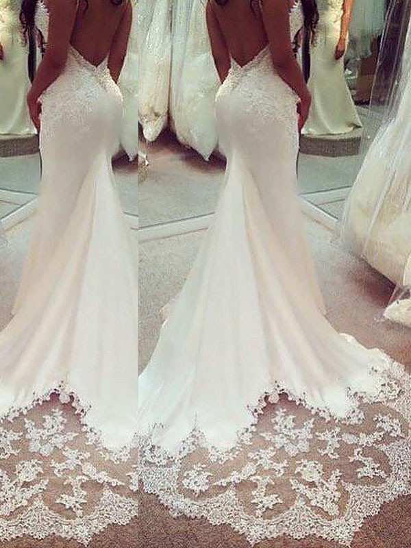 Mermaid Applique Satin Spaghetti Straps Sleeveless Court Train Wedding Dresses