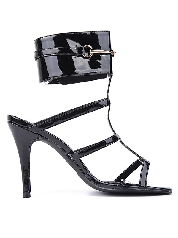 Women's Patent Leather Peep Toe Stiletto Heel Black Sandals Shoes