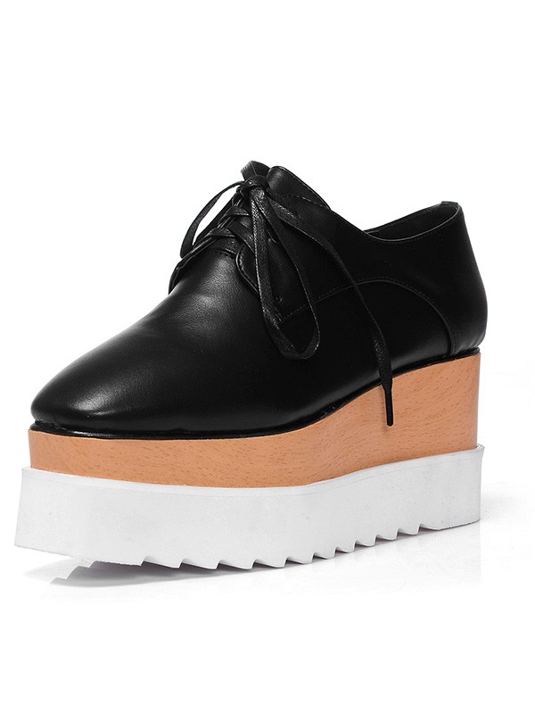 Women's Closed Toe Patent Leather Platform Wedge Heel With Lace-up Black Fashion Sneakers