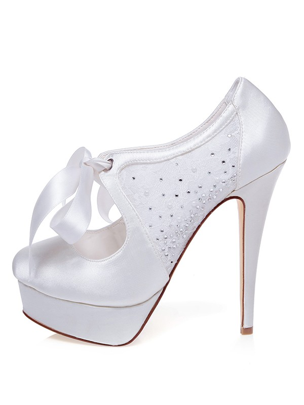 Women's Satin Closed Toe Stiletto Heel Silk Wedding Shoes