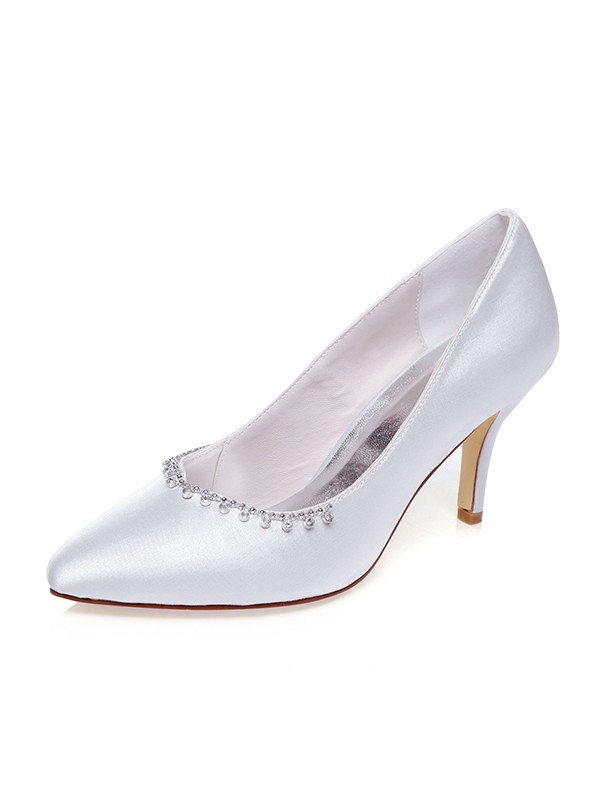 Women's Satin Closed Toe Beading Stiletto Heel Wedding Shoes