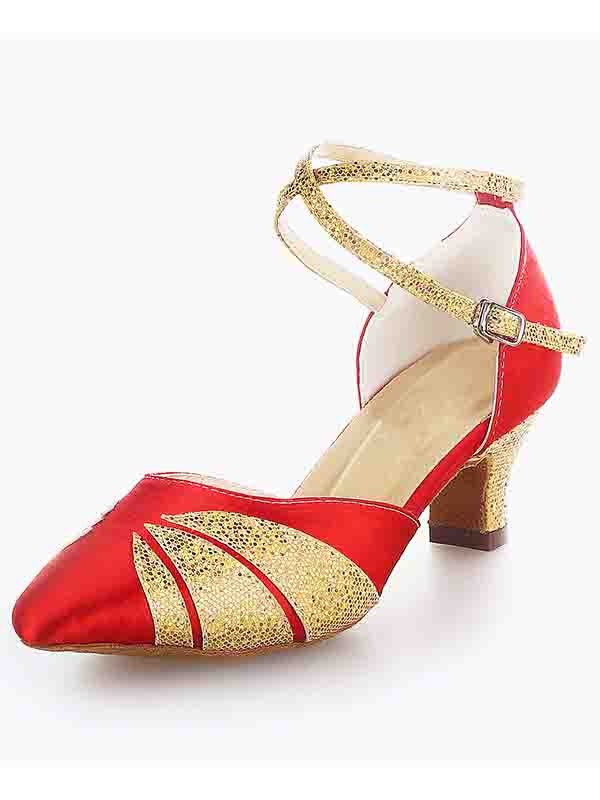 Women's Satin Closed Toe Chunky Heel Buckle Sparkling Glitter Dance Shoes
