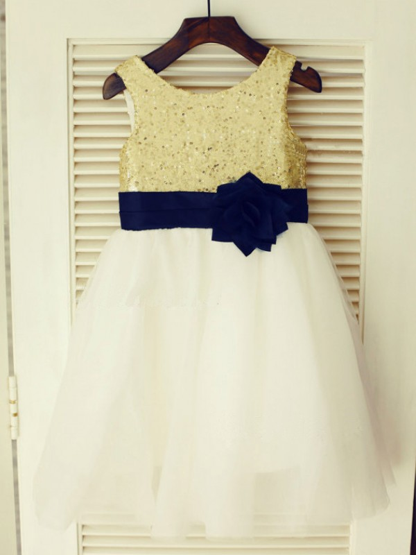A-line Scoop Tea-length Tulle Flower Girl Dress